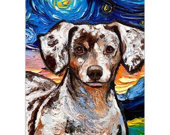 Magnet - Reverse Chocolate Dapple Dachshund Starry Night Dog Art Animal Refrigerator Magnet 3x3, 3x4, Or 4x6 Inch Sizes Choose Cute Pet Art