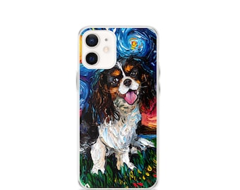 Tri Color Cavalier King Charles Spaniel Night iPhone Case Dog lover cute pup Phone Protector art by Aja