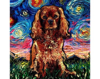 Puzzle - Ruby Cavalier King Charles Spaniel Starry Night Dog 10x14 Or 16x20 Inch 252 Or 500 Piece Puzzles Art By Aja