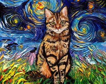 Brown Tabby Night Cat Starry Night Art Print picture by Aja choose size, Photo Paper Watercolor Paper artwork home decor pet night tiger cat