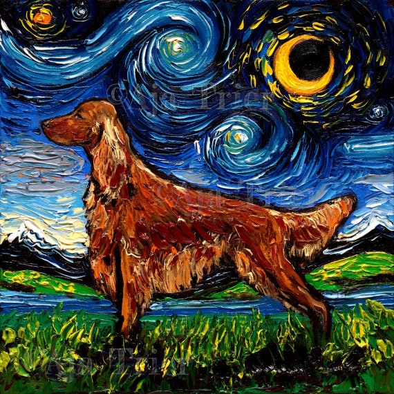 Gifts Poster Watercolor Irish Setter 11x14 art PRINT from painting Drawing