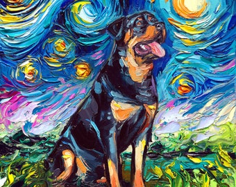 Sitting Rottweiler Art Starry Night Art Print dog art by Aja choose size and type of paper pet owner pup artwork