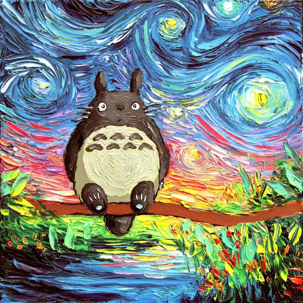 My Neighbor Totoro Art Starry Night Giclee Print Van Gogh Etsy