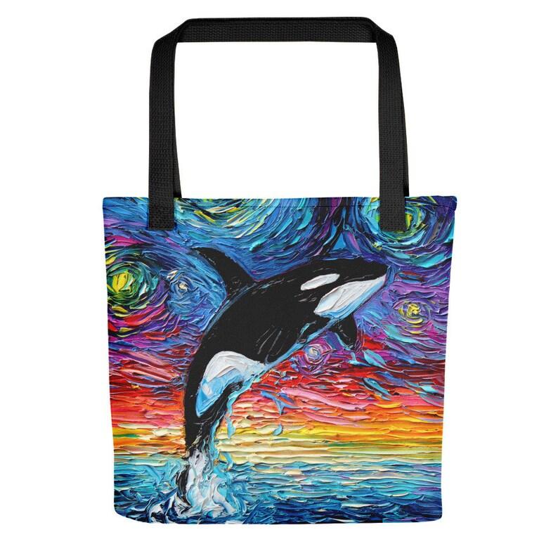 Orca Whale Starry Night style Tote bag handbag artwork by Aja ocean seascape sea life beach bag