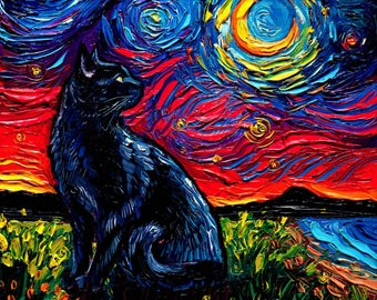 Black Cat and Moon Starry Night Art Print picture by Aja choose size and type of paper - Photo Paper or Watercolor Paper home decor