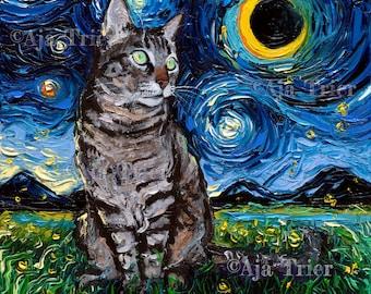 Gray tabby Cat Art CANVAS print Starry Night Ready to Hang wall decor artwork display by Aja animal home tiger grey kitty sleeping