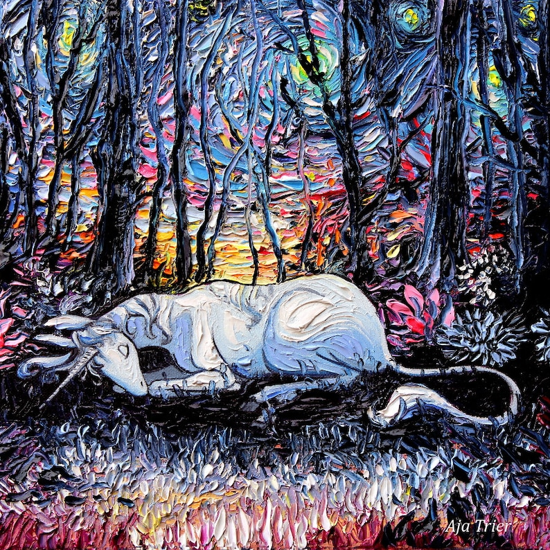 Last Unicorn Art - Starry Night Giclee print Dreams by Aja fantasy artwork  choose size and type of paper