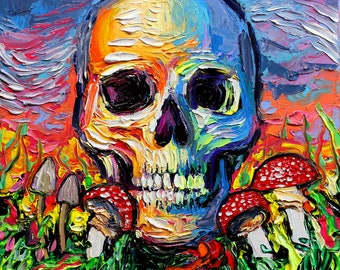 Psychedelic Art Print - Trippy colorful skull and mushrooms artwork Back To The Earth by Aja 5x5, 8x8, 10x10, 12x12, 20x20, and 24x24 choose