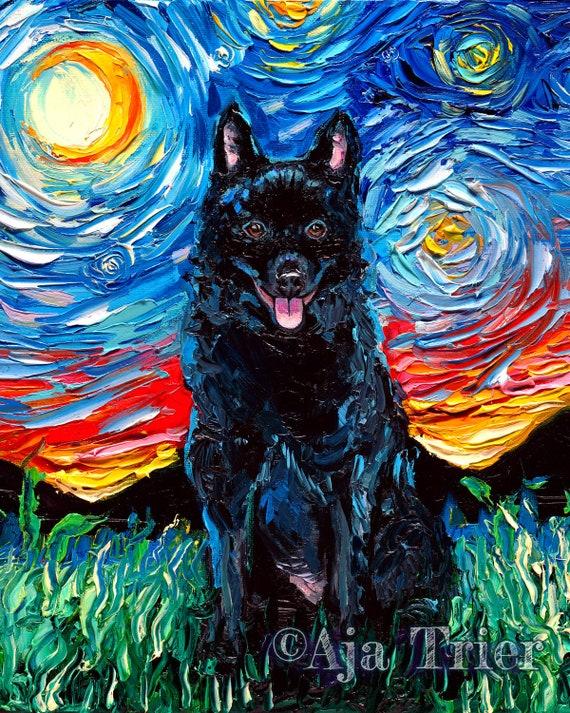 SCHIPPERKE IN A BOAT LOVELY VINTAGE STYLE DOG ART PRINT POSTER