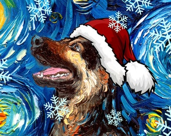 Digital Download of German Shepherd in a Santa hat Starry Night art by Aja - PNG file print your own Christmas ornament / greeting card