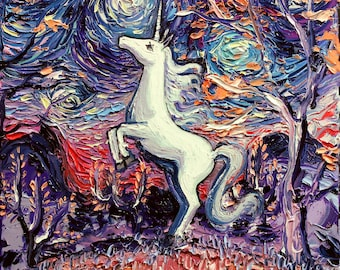 Last Unicorn Art - Starry Night Giclee print I'm Alive by Aja Choose size and type of paper colorful fantasy wall decor