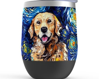 Golden Retriever Starry Night Dog Stemless Wine Tumblers Cup With Lid Unique Gift Barware Wine Glass