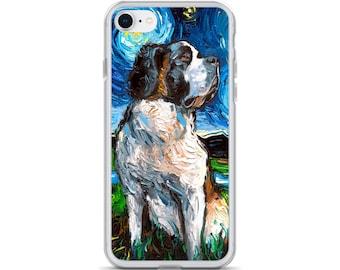 Saint Bernard Night iPhone Case Dog Lover Phone Protector Starry Night Art by Aja
