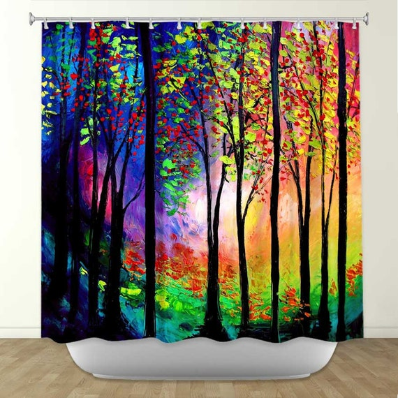 Items Similar To Colorful Shower Curtain Orange Shower