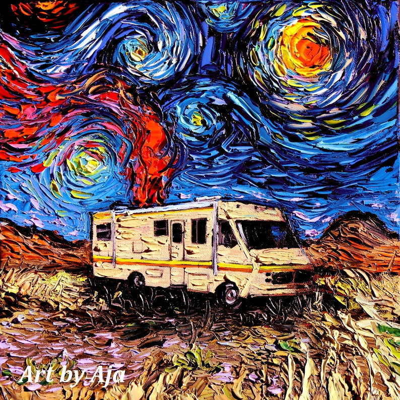 Breaking Bad Canvas Art Print Van Gogh Never Met Heisenberg Wall Decor By Aja 8x8 10x10 12x12 16x16 20x20 24x24 30x30 Inches Choose