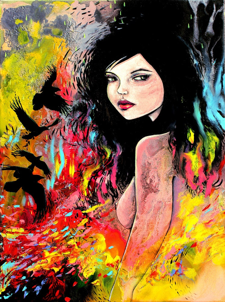 Abstract Nude print colorful art by Aja Flock 9x12 and