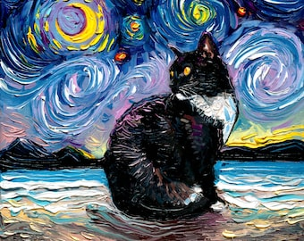Tuxedo Cat on Beach Starry Night Art Print picture by Aja choose size and type of paper - Photo Paper or Watercolor Paper home decor