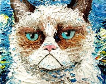 Vincent van NO - Cat meets Starry Night print of original oil painting 16x20 inches