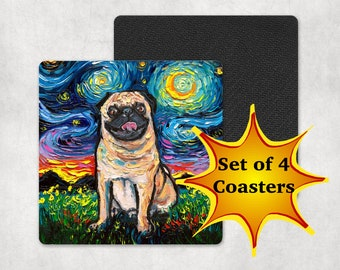 Coasters - Set of 4 Happy Fawn Pug Square Starry Night Dog 4x4 inch anti-skid rubber back and fabric top Art by Aja Home Decor