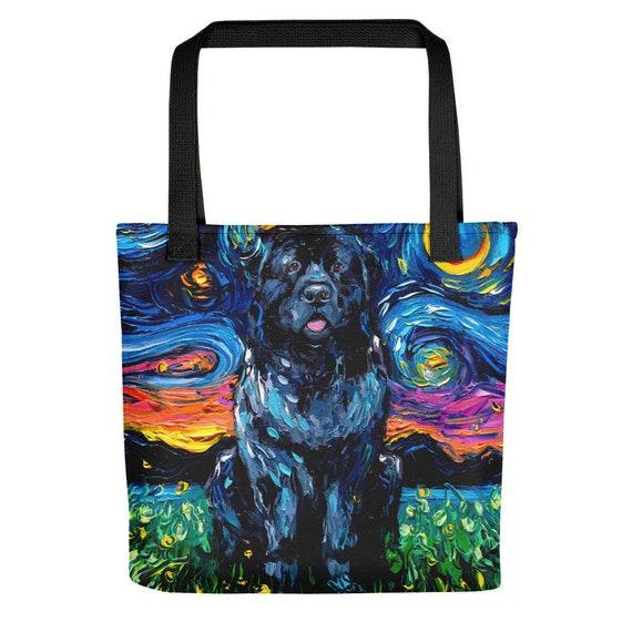 Blue Heeler Australian Cattle Dog Starry Night Tote bag handbag artwork by Aja dog lover gift 15x15 inches printed both sides