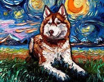Red and White Siberian Husky Art Starry Night Art Print dog lover gift cute art by Aja Animal Moon choose size and type of paper