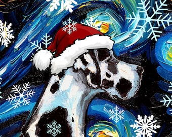 Digital Download of Harlequin Great Dane Dog in a Santa hat Starry Night art by Aja - PNG file print your own Christmas ornaments / cards