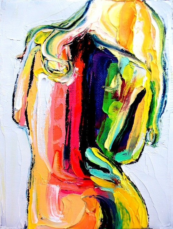 Abstract Nude print colorful art by Aja Before I Sleep
