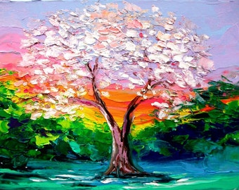 Story of the Tree 50 - 18x24 abstract tree Lustre print reproduction by Aja ebsq