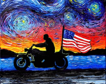 Motorcycle Art CANVAS print Patriotic American Flag artwork Easy Rider by Aja choose size biker silhouette sunset freedom wall decor