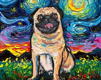 Fawn Pug Art Starry Night Art Print dog picture by Aja choose size, Photo Paper or Watercolor Paper cute pet artwork smiling pug happy doggo