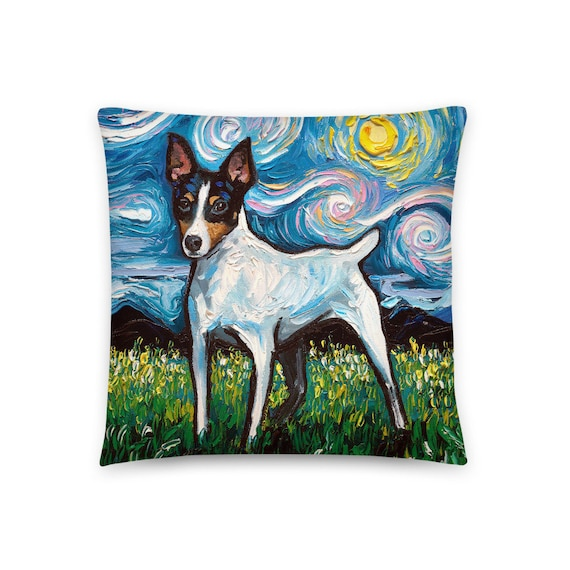 Toy Fox Terrier Dog Lover Starry Night Basic Throw Pillow Etsy