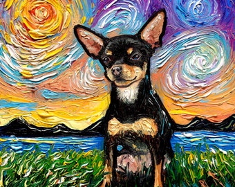 Short Hair Black and Tan Chihuahua Art Sunset Art Print dog lover gift cute art by Aja pup puppy choose size and type of paper