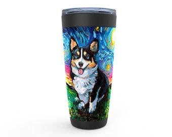 Tri Color Welsh Corgi Starry Night Dog Viking Tumbler Insulated Stainless Steel Drinkware Art By Aja Travel Mug