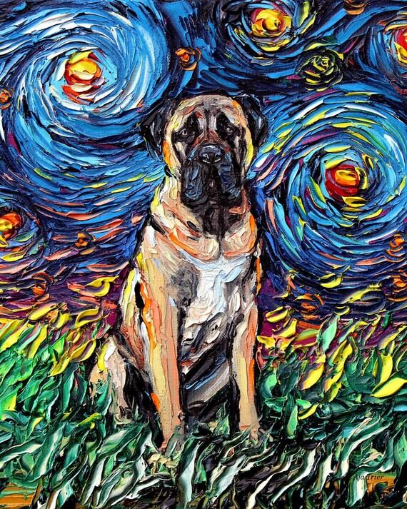 Fawn French Bulldog Dog Starry Night van Gogh Decor by Aja