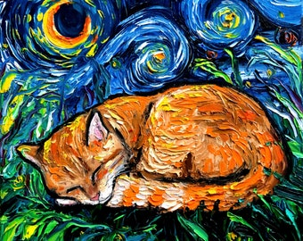 Orange Tabby Cat Art Starry Night Art Print picture by Aja choose size and type of paper - Photo Paper or Watercolor Paper home decor
