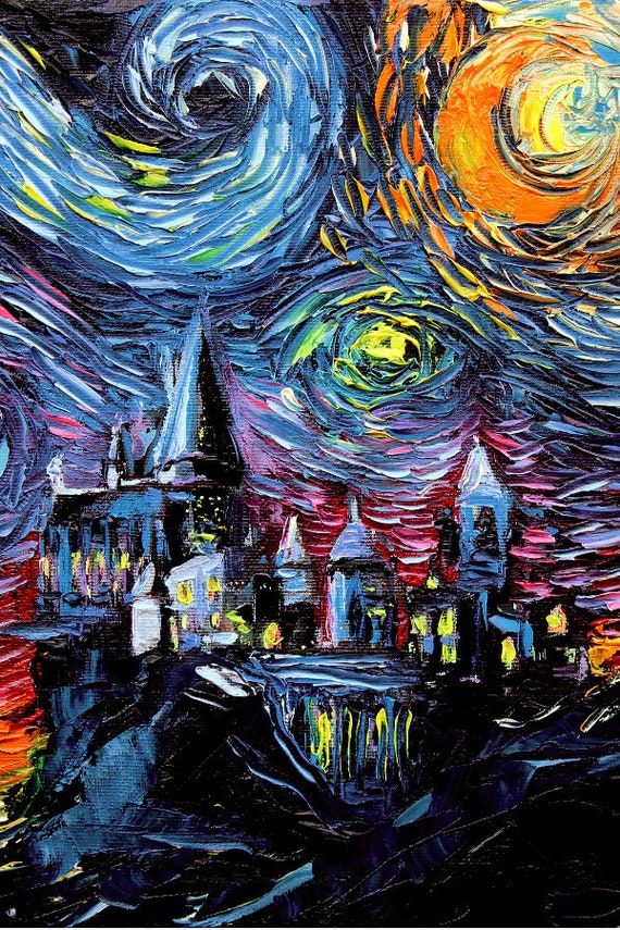 van Gogh Never Saw Hogwarts Castle Potter Wall Art Print Starry Night Aja Decor