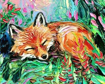 Fox cute Art Spring flowers CANVAS print nursery kitsune animal wall decor Kit by Aja, choose your size