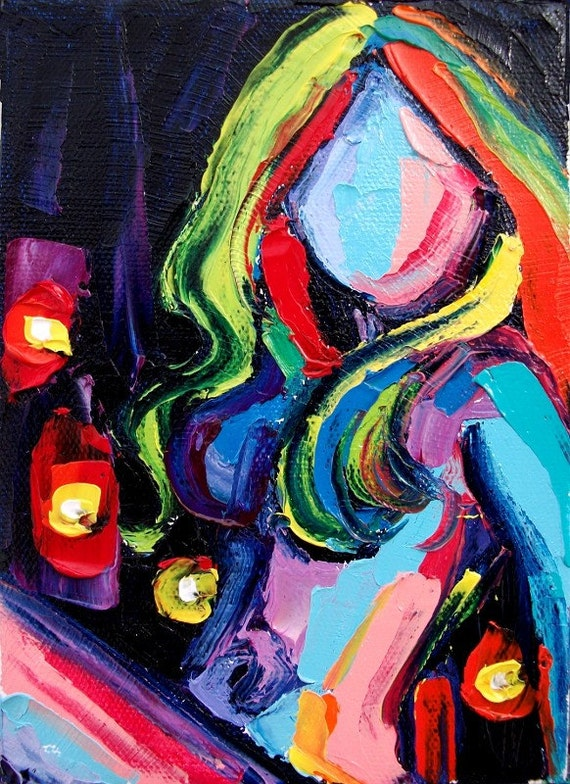 Abstract Nude Female Figure Femme 192 18x24 abstract