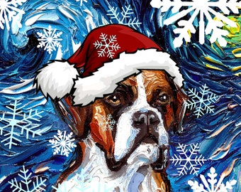 Digital Download of Boxer Dog in a Santa hat Starry Night art by Aja - PNG file print your own Christmas ornaments / cards