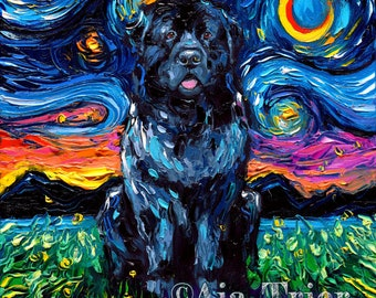 Newfoundland Starry Night Art Print Newfie dog lover gift cute art by Aja pup puppy choose size and type of paper
