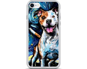 Happy Pitbull Starry Night iPhone Phone Case Dog Lover Art phone protector pet artwork by Aja