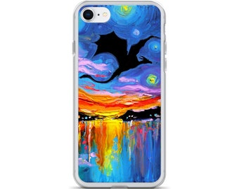 Flying Dragon Silhouette iPhone Case Art by Aja colorful Phone Protector