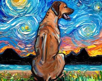Rhodesian Ridgeback Dog Art - Starry Night Art Print by Aja square and rectangular prints choose size and type of paper pet artwork cute