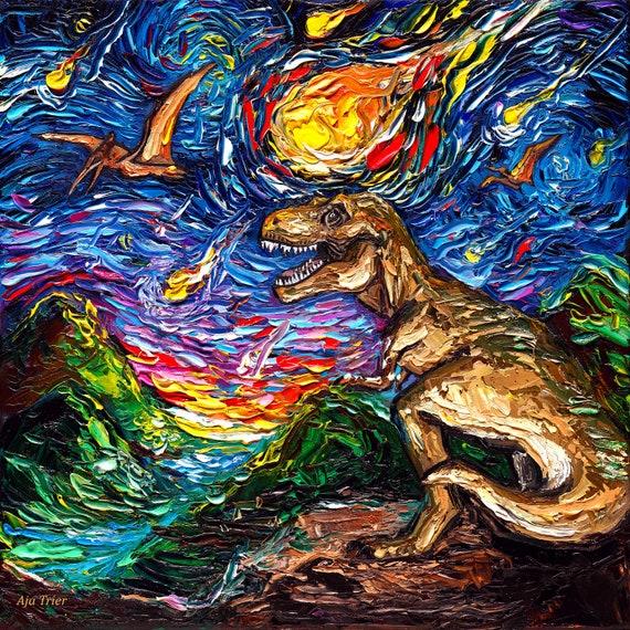 Dinosaur T Rex Tyrannosaurus Picture SINGLE CANVAS WALL ART Print