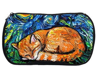 Cosmetic Bag - Orange Tabby Cat Sleeping Starry Night Neoprene Rubber Colorful Tiger Kitty Makeup Pouch Travel Bag Art By Aja