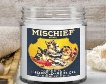 Vintage Cat Kittens food label Candle Mischief Brand Tea