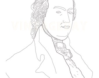 George Washington Hamilton Franklin Drawings Vintage Portraits Book Coloring  Pages Instant Download