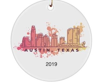 Austin Texas ornament watercolor skyline personalized