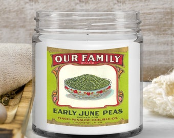 Our family candle vintage food label Reproduction design Early June Peas Food Illustrations