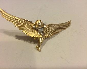 Goldtone guardian angel vintage pin brooch oldstock New